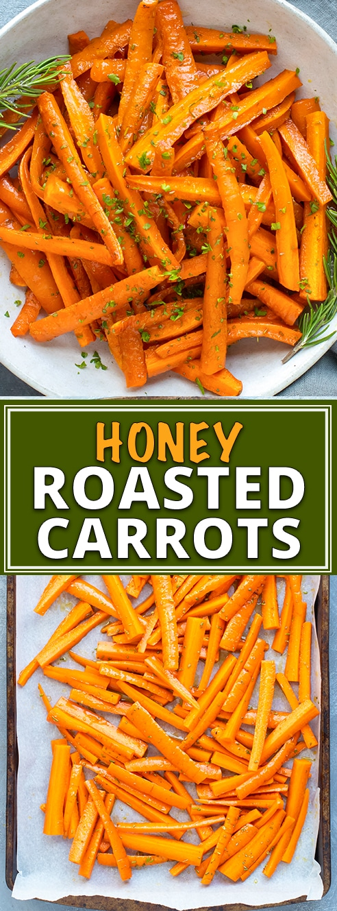 Honey Roasted Carrots Recipe | Honey roasted carrots are a healthy, easy, gluten-free, dairy-free, and vegetarian roasted carrots recipe that makes a great vegetable side dish recipe.  This honey roasted carrots recipe teaches you how to roast carrots in the oven that are perfect for a normal weeknight or a Thanksgiving, Christmas, or Easter side dish recipe!