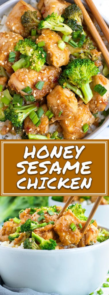 Honey Sesame Chicken and Broccoli Stir-Fry Recipe | When you're craving Chinese food but want to keep it healthy you can always turn to this Honey Sesame Chicken and Broccoli Stir-Fry!  This sesame chicken recipe is a gluten-free, grain-free, refined-sugar free, and Paleo dinner recipe!