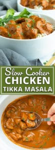 Easy Slow Cooker Chicken Tikka Masala | It's time to pull out that Crock-Pot, whip up some Indian seasonings, and enjoy a big bowl of Slow Cooker Chicken Tikka Masala. This healthy, gluten-free, Paleo, low-carb, and Whole30 chicken tikka masala recipe is an easy dinner for your busy weeknights!