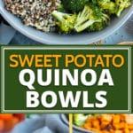 A gray bowl filled with a veggie quinoa bowl recipe.