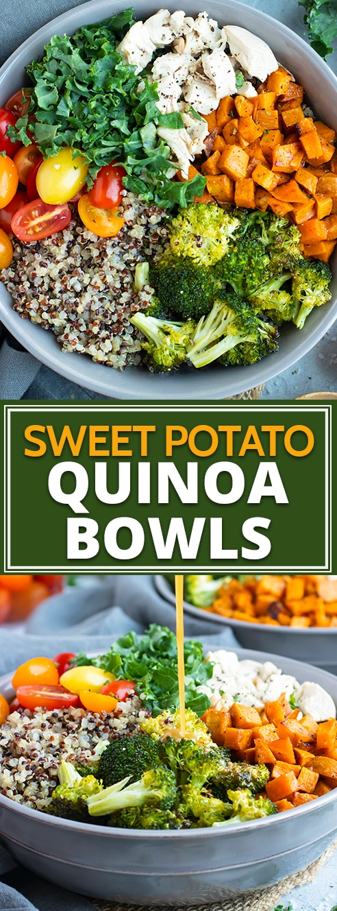 This Sweet Potato Broccoli Quinoa Bowl is full of nutritious fiber, lean chicken, topped with a sesame-ginger salad dressing and is gluten-free and dairy-free.  It is one of our favorite healthy and easy chicken quinoa bowl recipes in our house! #quinoa #salad #quinoabowl #healthy #dinner #lunch #sweetpotato #broccoli #chicken