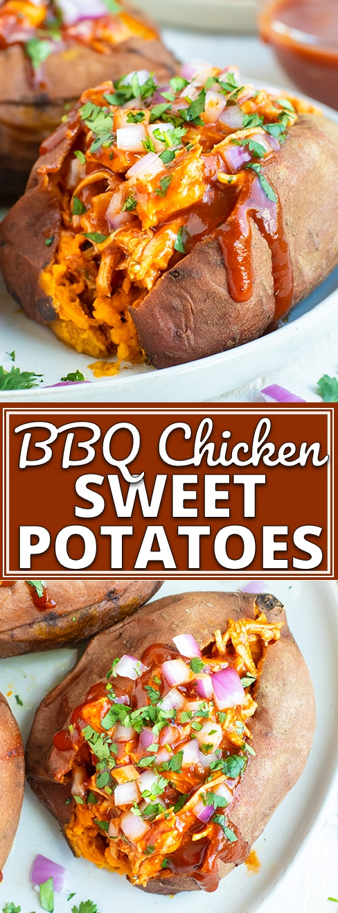 BBQ Chicken Stuffed Sweet Potatoes are an easy, healthy, gluten-free, and dairy-free weeknight dinner recipe the whole family will enjoy! This stuffed sweet potatoes recipe can also easily be made Paleo and Whole30. #evolvingtable #bbq #chicken #sweet potatoes #glutenfree #dinner #whole30 #paleo