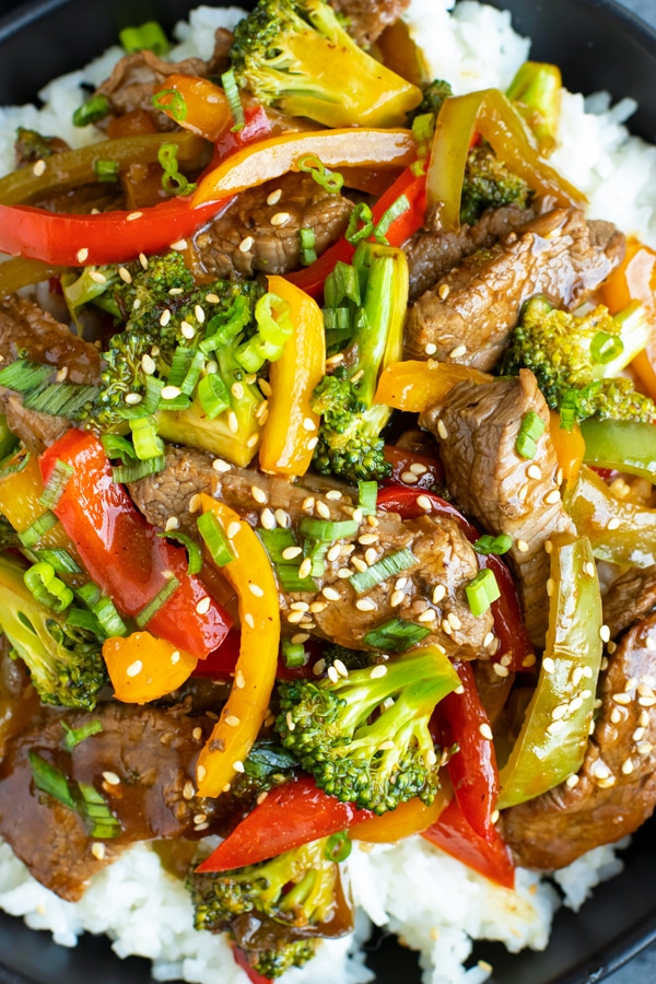Close up picture of quick and easy Beef and Broccoli Stir Fry.
