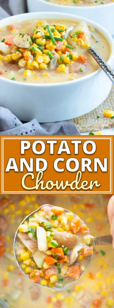 Instant Pot Potato Corn Chowder is a quick and easy gluten-free, dairy-free, Whole30, vegetarian and vegan soup recipe that is full of flavor!  This healthy soup recipe can be ready-to-eat in under 30 minutes!