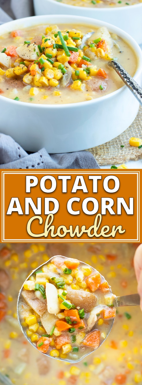 Instant Pot Potato Corn Chowder is a quick and easy gluten-free, dairy-free, vegetarian and vegan soup recipe that is full of flavor! This healthy soup recipe can be ready-to-eat in under 30 minutes!