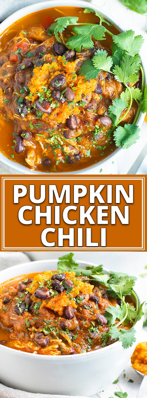 Instant Pot Pumpkin Chicken Chili is a quick and easy chili recipe to bring in the Fall season!!  Since this pumpkin chili recipe is made in the Instant Pot you can enjoy your healthy, dairy-free, and gluten free dinner recipe in a fraction of the time. #evolvingtable #instantpot #chili #pumpkin #chicken #football