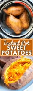 Instant Pot Sweet Potato in a steamer basket and on a white plate.