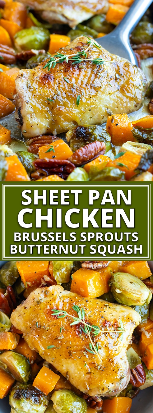 Maple Glazed Oven Baked Chicken Thighs - A bit of maple syrup sweetness, a little Dijon mustard kick, and a whole lot of fresh herbs combine to make the best oven baked chicken thighs recipe! This easy one pan chicken and veggies is full of roasted chicken thighs, Brussel sprouts, and butternut squash for a quick and healthy weeknight dinner. #onepanchicken #chickenandveggies #fallrecipes #chickenthighs #brusselsprouts #evolvingtable