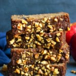 Slices of this gluten-free Healthy Apple Bread Recipe stacked in a pile.