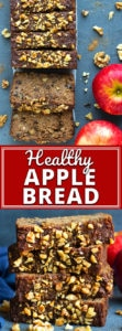 Enjoy all of the flavors of apple and cinnamon spice in this moist and Healthy Apple Bread recipe!  You will learn how to make apple bread that is quick, easy, gluten-free, grain-free, dairy-free, Paleo, refined sugar-free and can easily be made vegetarian and vegan!