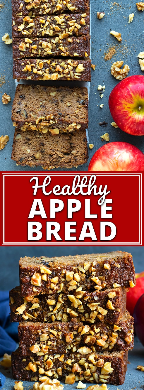 Enjoy all of the flavors of apple and cinnamon spice in this moist andHealthy Apple Bread recipe! You will learn how to make apple bread that is quick, easy, gluten-free, grain-free, dairy-free, Paleo, refined sugar-free and can easily be made vegetarian and vegan! #applebread #recipe #applecinnamon #glutenfree #paleo #bread