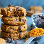 Pumpkin chocolate chip cookie recipe with pumpkin puree and dark chocolate chips.