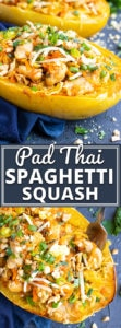 Spaghetti Squash Chicken Pad Thai is a healthy way to enjoy your favorite Thai recipe at home! This chicken pad Thai recipe is made gluten-free, dairy-free, and then stuffed in roasted spaghetti squash that has been baked in the oven for an easy alternative to traditional pad Thai!