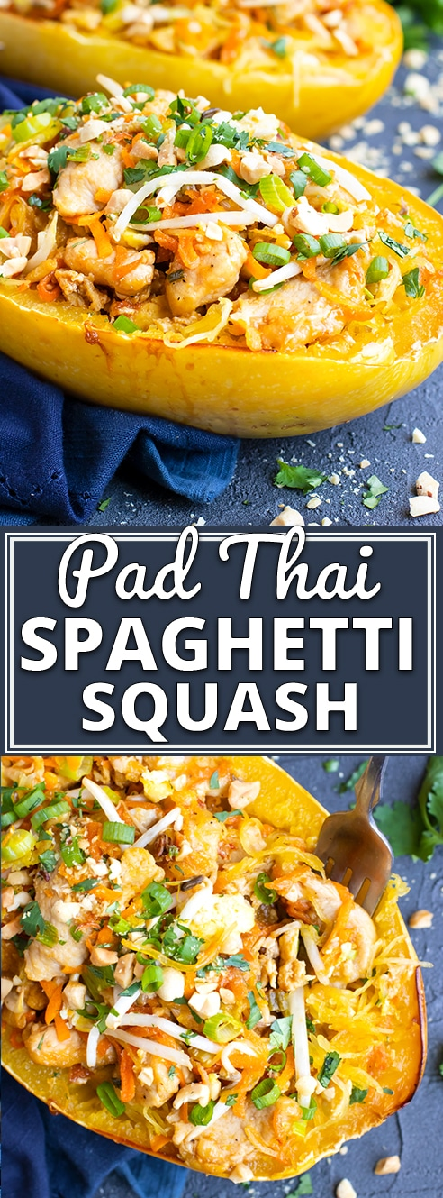 Spaghetti Squash Chicken Pad Thai is a healthy way to enjoy your favorite Thai recipe at home!  This chicken pad Thai recipe is made gluten-free, dairy-free, and then stuffed in roasted spaghetti squash that has been baked in the oven for an easy alternative to traditional pad Thai! #spaghettisquash #squash #padthai #chicken #recipe #glutenfree #evolvingtable