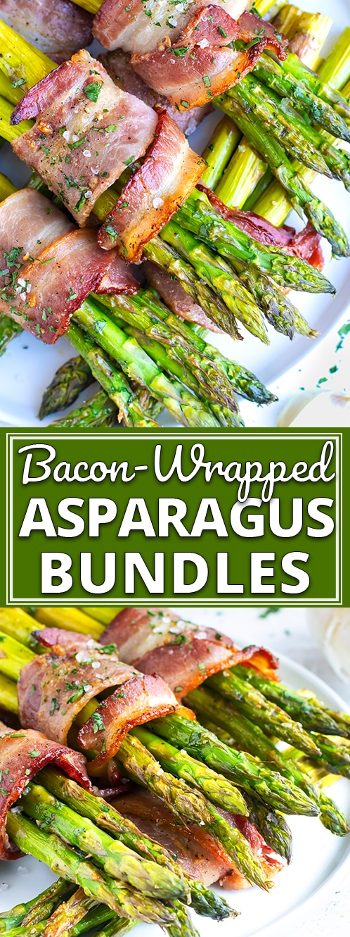 Bacon Wrapped Asparagus is a low-carb, keto, and healthy side dish recipe that is great for weeknight dinners or as a Thanksgiving Day vegetable dish!  Learn the ingredients, tools, and techniques that will teach you how to make bacon wrapped asparagus that turns out perfectly every single time! #evolvingtable #asparagus #sidedish #Thanksgiving #dinner #bacon #lowcarb #keto
