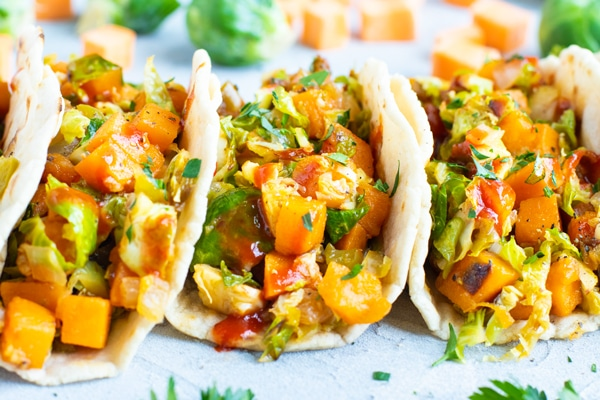 Close up picture of vegan sweet potato tacos for a delicious dinner.