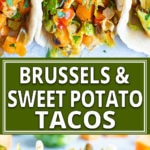 Vegan Tacos are loaded with sweet potatoes, shaved Brussel sprouts, a spicy-sweet sauce, and then wrapped in a Paleo tortilla! This gluten-free, dairy-free, Paleo, and vegan taco recipe is what taco dreams are made of!!