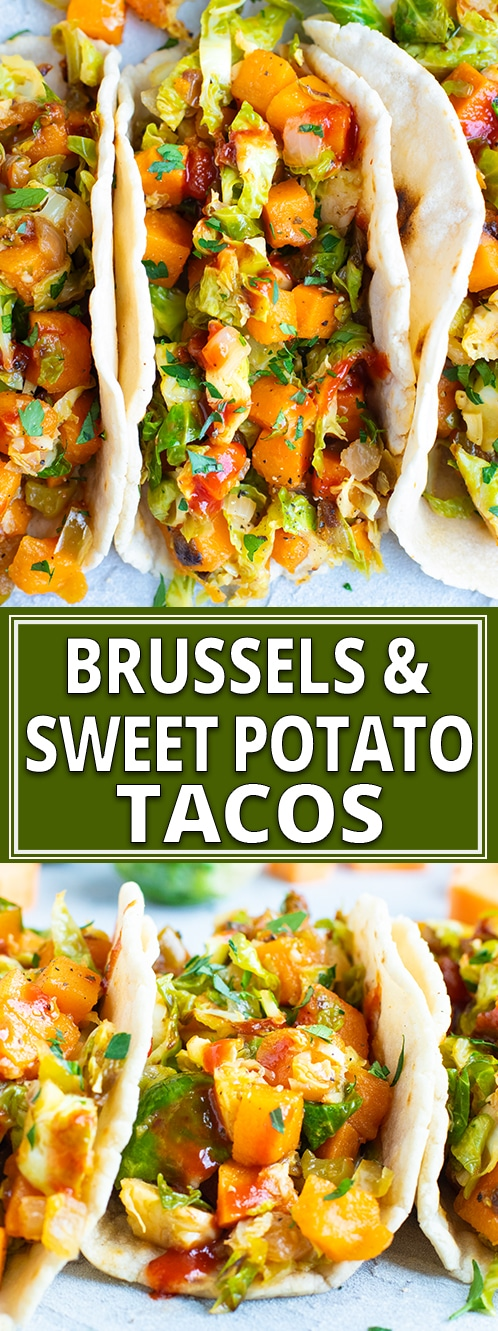 Vegan Tacos are loaded with sweet potatoes, shaved Brussel sprouts, a spicy-sweet sauce, and then wrapped in a Paleo tortilla! This gluten-free, dairy-free, Paleo, and vegan taco recipe is what taco dreams are made of!! #evolvingtable #vegan #tacos #vegantaco #recipe #Paleo #glutenfree