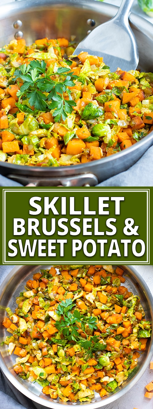 Skillet Brussel sprouts and sweet potatoes are a super quick and easy side dish to serve with chicken, steak, turkey, or pork!  This healthy recipe is gluten-free, dairy-free, vegan, Paleo, and makes a great weeknight, Christmas, or Thanksgiving vegetable side dish, too! #evolvingtable #vegan #Paleo #glutenfree  #sweetpotato #brusselsprouts #Thanksgiving #sidedish #recipe #Christmas