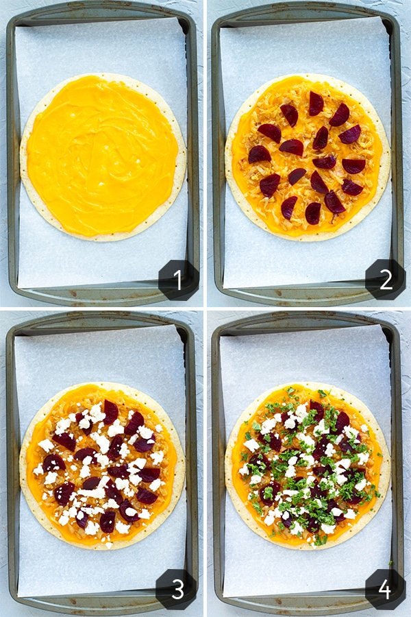 Four pictures showing step-by-step instructions to make a gluten free pizza crust with butternut squash pasta sauce.