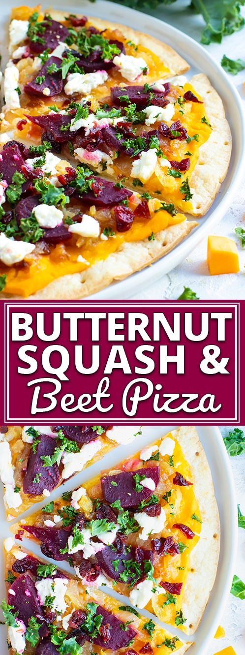 Butternut Squash Pizza is made from a gluten-free pizza crust, covered in a creamy butternut squash pasta sauce, and then topped with beets, caramelized onions, kale, and dried cranberries!  This gluten-free pizza recipe can easily be made vegan and will change up the way you think about your favorite pie! #evolvingtable #glutenfree #vegan #pizza #butternutsquash #dinner