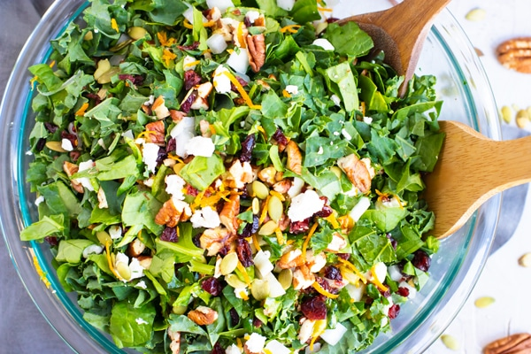 Chopped kale salad with cranberries, pecans, orange vinaigrette, and goat cheese in a clear serving bowl.