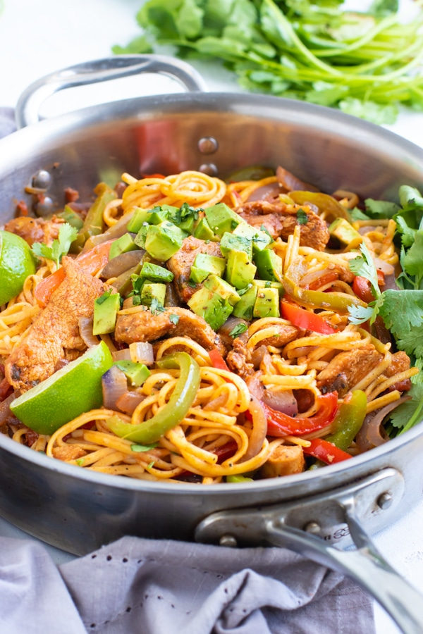 Chicken Fajita pasta recipe in a skillet.