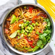 Chicken Fajita Pasta Recipe made with gluten free pasta in one skillet.