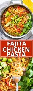 Chicken Fajita Pasta Recipe made with gluten free pasta in one skillet.
