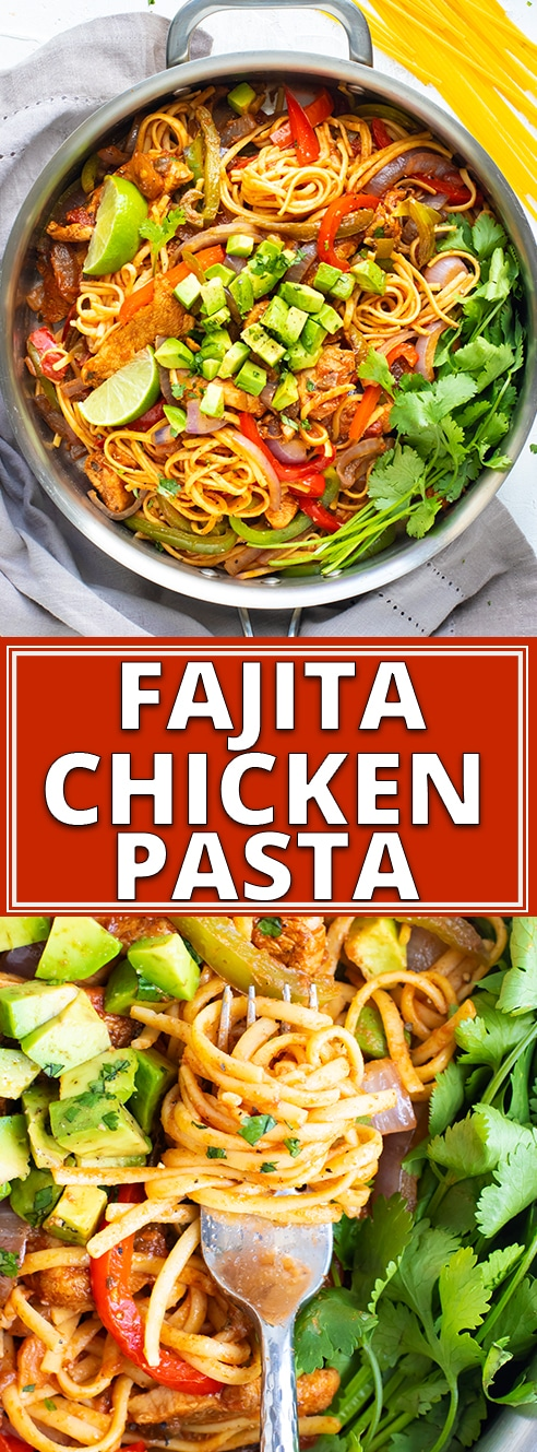 Chicken Fajita Pasta combines the best of both words by mixing together your favorite Mexican food with gluten free pasta to form a healthy and easy pasta dinner recipe!  This fajita chicken pasta recipe is full of taco spices, is gluten free and can easily be made dairy-free, too. #evolvingtable #fajita #pasta #chickenfajitas #glutenfree #pasta #dinner #recipe