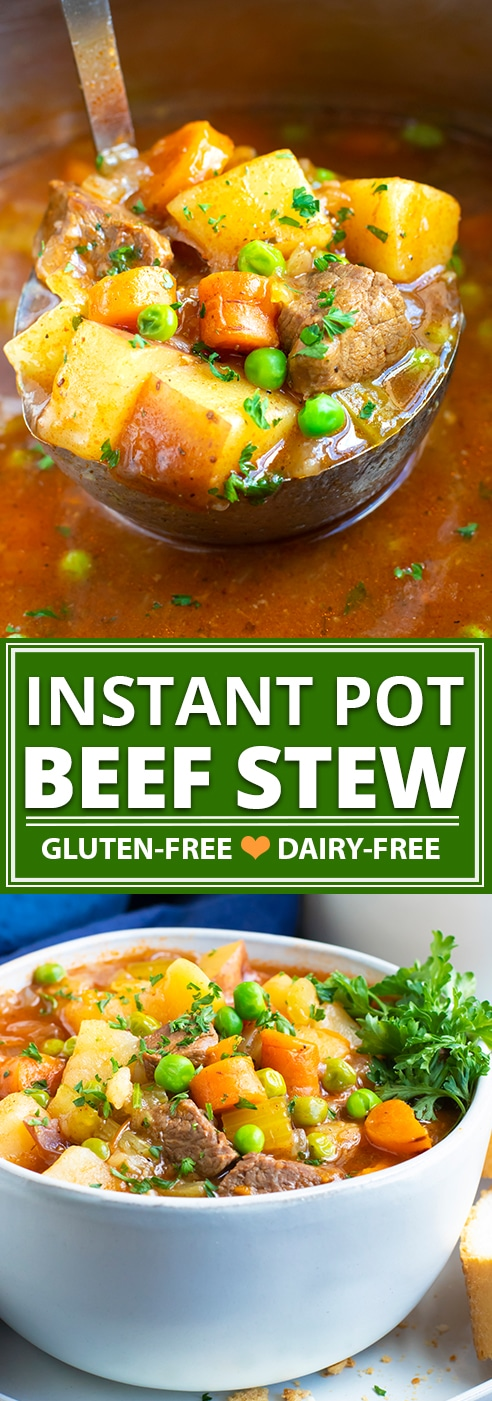 Instant Pot Beef Stew is a healthy, easy, and comforting soup recipe to make in the pressure cooker.  Learn how to make a Whole30, gluten-free and dairy-free pressure cooker beef stew recipe that is full of the most tender beef stew meat and loaded with healthy vegetables!