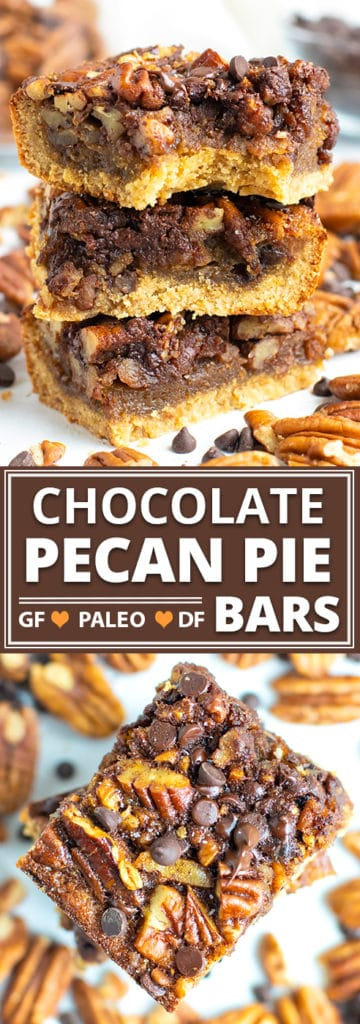 An easy pecan pie bars recipe in a stack with chocolate chips on a white background.