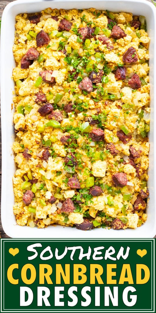 Southern cornbread dressing recipe in a white baking dish for a Thanksgiving side dish.