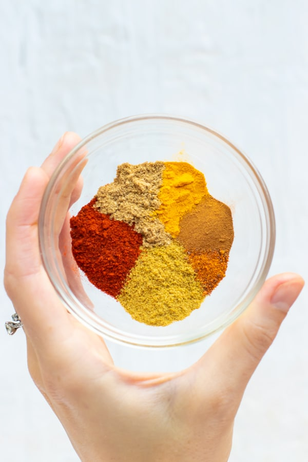 A spice blend of turmeric, cinnamon, cumin, cayenne pepper, coriander, and paprika in a clear bowl.