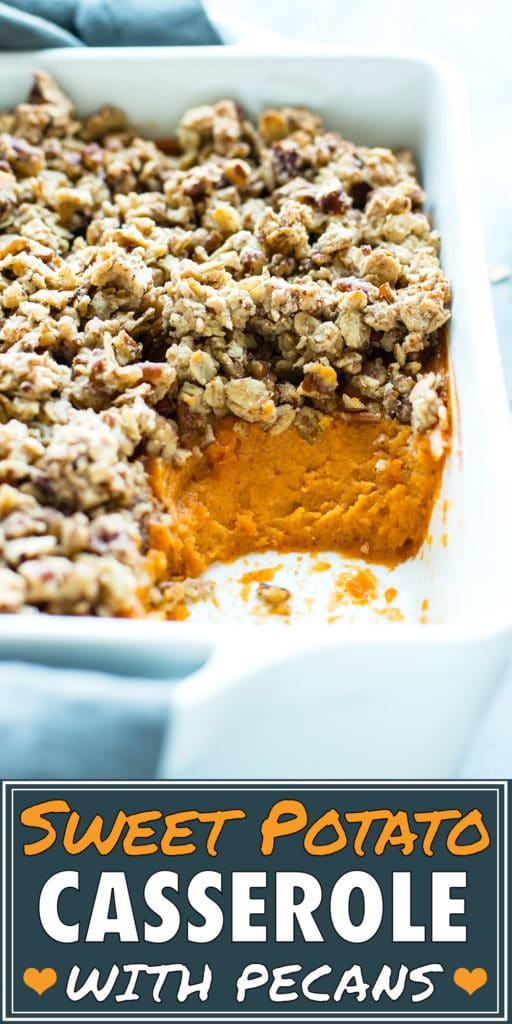 Healthy Sweet Potato Casserole with Pecans for a Thanksgiving side dish recipe.