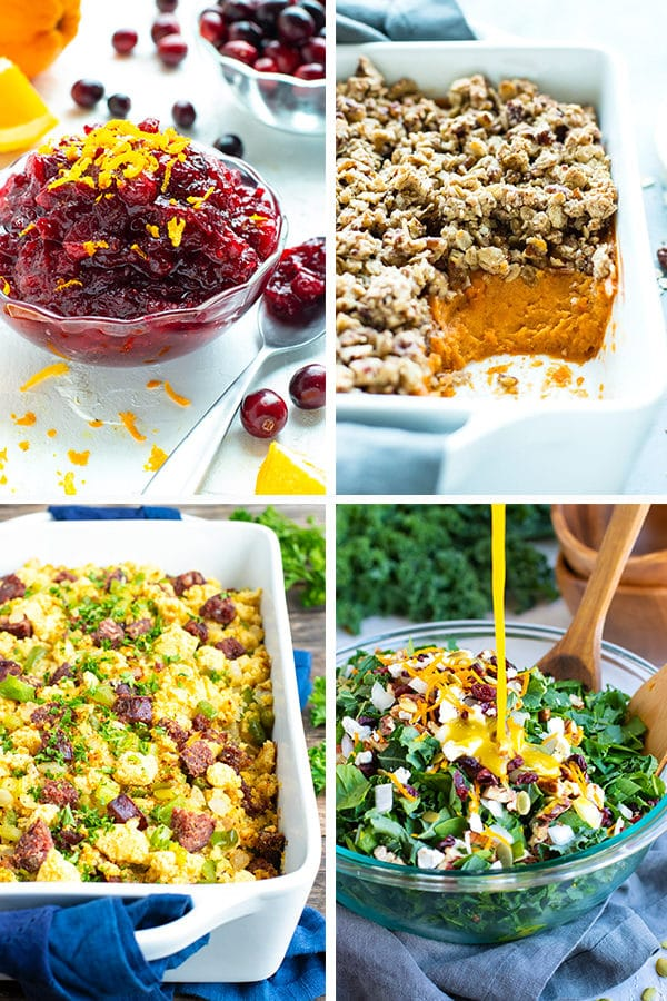 A collage of cranberry sauce, sweet potato casserole, cornbread dressing, and a chopped kale salad.