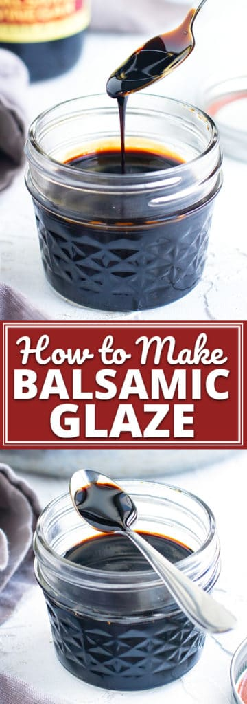 Learn how easy it is to make a balsamic reduction at home with only ONE ingredient!  This balsamic glaze recipe tastes incredible on a caprese salad, pork, or atop a crusty piece of bruschetta.  And with no added sugar, this recipe is Whole30, Paleo, and keto diet friendly. #evolvingtable #balsamicreduction #balsamicglaze #sauce #keto #whole30