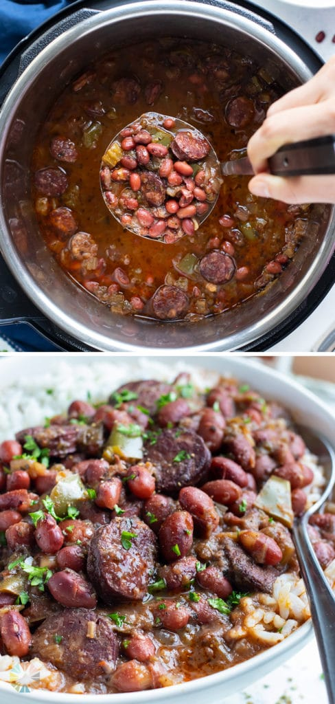 Flavorful instant pot red beans and rice are enjoyed for dinner.