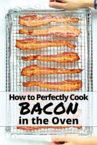 A baking sheet with a wire rack and bacon that has been cooked in the oven.