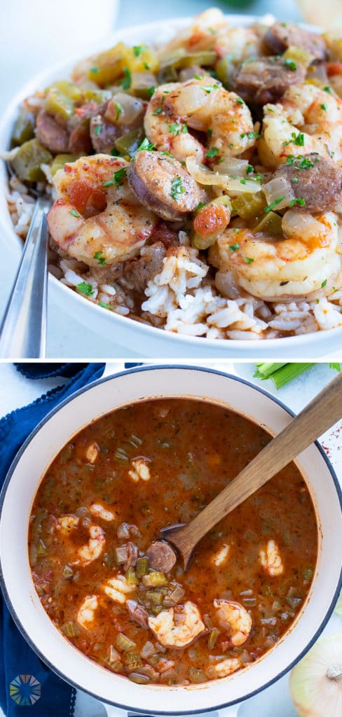 Cajun gumbo is served in a white bowl with rice.