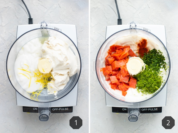 Two photos showing how to make smoked salmon dip in a food processor with cream cheese, smoked salmon, dill, yogurt, and lemon.