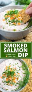 A grey bowl full of salmon dip that is topped with smoked salmon and dill.