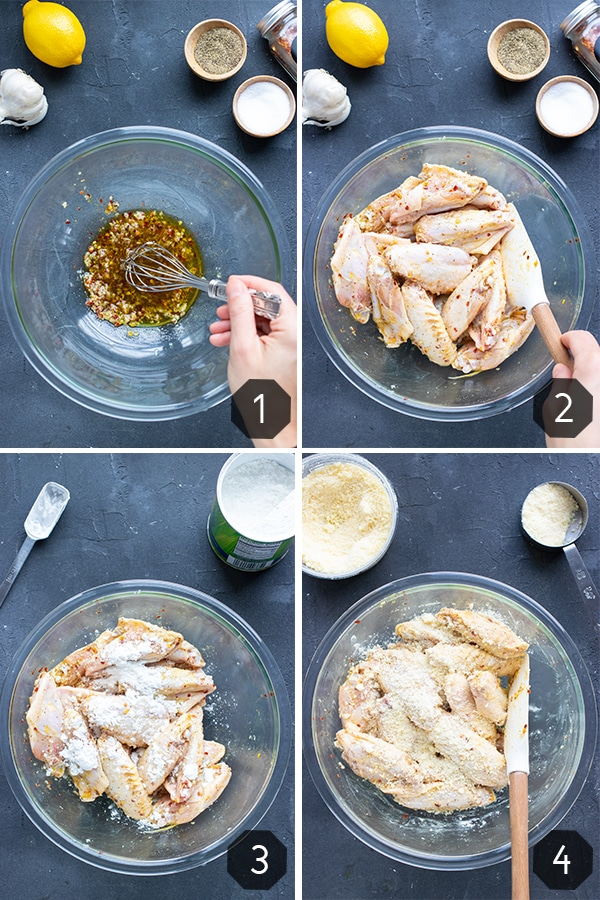 Four images showing how to bake garlic parmesan chicken wings.