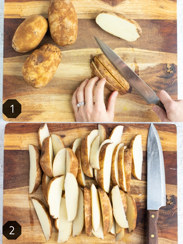 Cutting russet potatoes into wedges on a wooden cutting board.