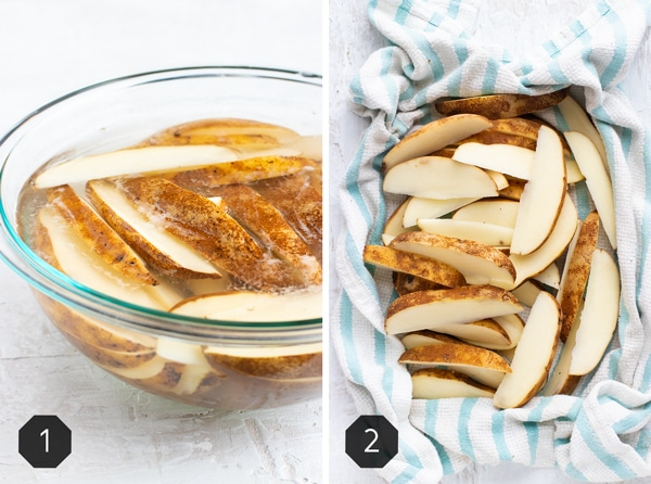 Two images showing potato wedges that are soaking in a clear bowl of warm water and then a dish towel drying them off.