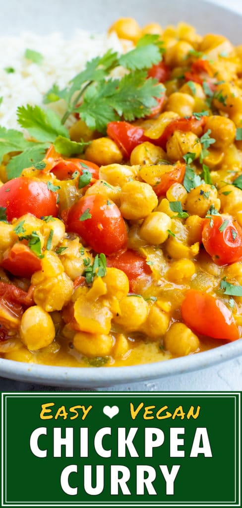 Easy chickpea curry recipe in a white Dutch oven with a wooden spoon.