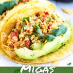 Learn how to make migas and serve them in a corn tortilla.
