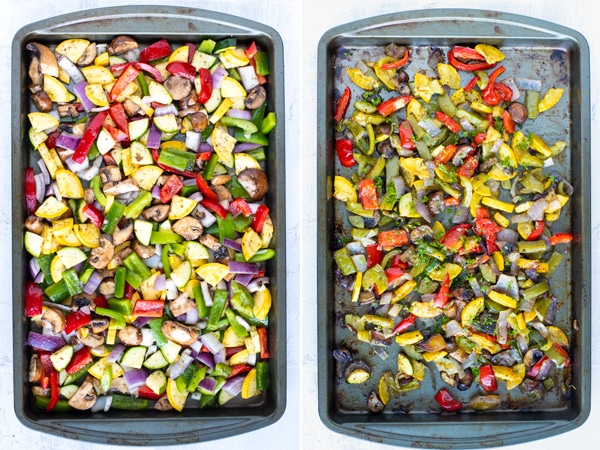 A before and after picture showing how to roasted vegetables in the oven.