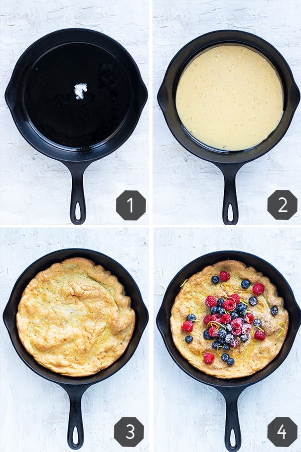 A collage of four images showing how to make a Dutch baby pancake.