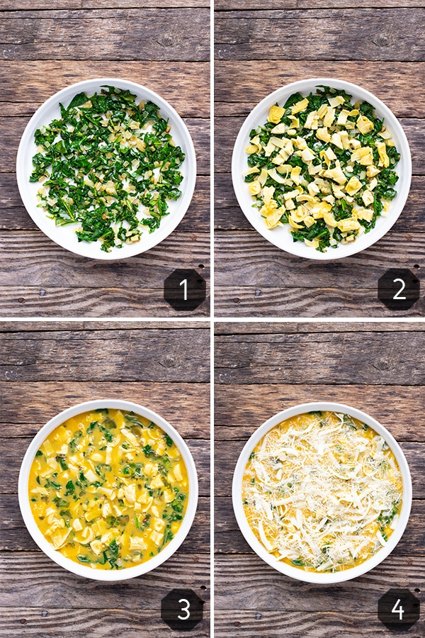 A collage of photos showing how to make crustless quiche with spinach, artichoke, and cheese.